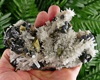Amazing Quartz with Sphalerite and Chalcopyrite , Crystal, Mineral, Natural Crys