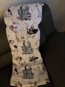 Frenchie FRENCH BULLDOG White Plush Throw Blanket Dog Dogs Puppy 50x70 in Cozy