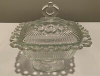 Vintage 1950's Indiana Glass Ribbed Footed Lace Edge Clear Lidded Candy Dish