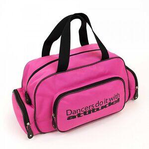 'Dancers do it with Attitude' Glitter Dance Holdall Ballet/ Tap Bag Pink & Black