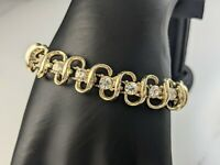 Lovely Vintage  Gold-tone Ribbon Rhinestones Design Bracelet by Coro Jewellery
