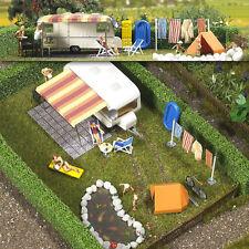 Busch 6023 Camping Trailer Scene Plastic Kit - HO/00 Gauge - Tracked 48 UK Post