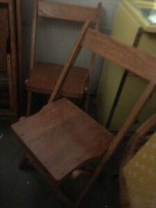 Vintage Oak folding chairs Mid Century 4