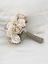 VINTAGE PEACH IVORY CHAMPAGNE BEIGE ROSES BOUQUET BRIDE WEDDING FLOWERS BURLAP