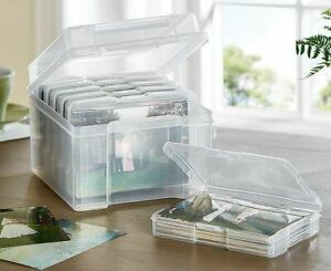 """6x4"""" Photo Storage Boxes Cases Clear Plastic Stylish Stackable Space Saver"""