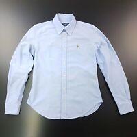 Ralph Lauren Womens Shirt Blouse Size 6 Long Sleeve Blue SUPER SLIM FIT