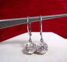Cz Leverback Earrings 2.4 Grams 14K White Gold Round Dangling