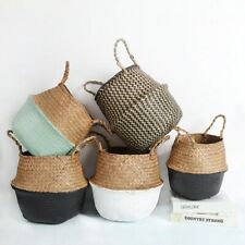 Storage Baskets laundry Seagrass  Wicker Hanging Flower Pot Home Pot toy Bucket