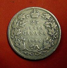 1905 CANADA 25 cents Canadian silver quarter dollar twenty five cents