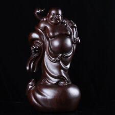 China Ebony Wood Carving Stand Happy Laugh Maitreya Buddha Hold Ruyi Statue