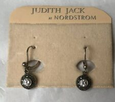Judith Jack Sterling Silver Crystal Drop Earrings With Marcasite Pierced