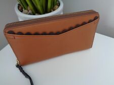 ** Fossil Caroline Saddle Tan Leather Zip Around Clutch Purse Wallet RFID