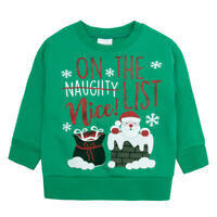Childrens Christmas Themed Long Sleeved Top Jumper Lise List Snowman Santa Merry