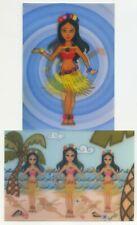 Hula Mädchen Tänzer Zwei Animation Motion Linsenförmiges Postkarten