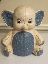 Vintage Blue Cream Baby Elephant Hand Painted Cookie Jar OOAK