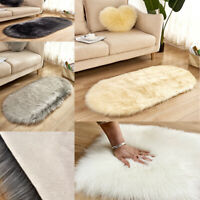 Faux Fur Sheepskin Rug Balcony Oval circle Rectangle Floor Carpet Bedroom Mat