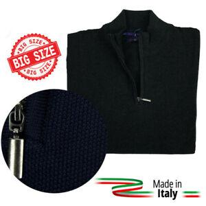 Maglione a Lupetto Mezza Zip Uomo Collo Alto Classico Taglie Forti Tinta Unita