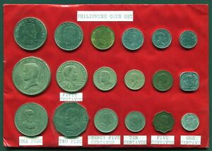 Philippines Coin Set Old Hand-Made Souvenir Set with 18 different coins