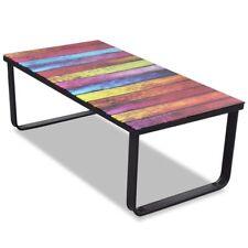 Modern Design Glass Coffee Table Rainbow Printing Living Room Furniture Decor