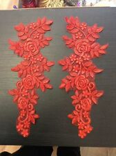 Red flower bridal wedding embroidery patch lace applique motif dance costume