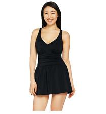A288836 Denim & Co. Beach Ruched Flounce Swim Dress 18 Black