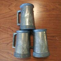 Set of 3 Vintage Pewter Tankard Mugs w/ Dragon Engraving Glass Bottom