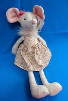 """16"""" tall MOUSE PINK FLORAL DRESS soft toy plush COMFORTER * WILBERRY FRIENDS"""