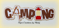 CRAFTECAFE MINDY CAMPING HIKING  premade Paper piecing TITLE scrapbook DIECUT