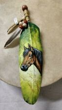 HAND PAINTED FEATHER  HORSE, ARTS & CRAFTS ,SOUTHWEST  , SANTA FE ,  WESTERN