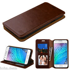 For Samsung GALAXY J7 Leather Flip Wallet Case Cover Pouch Folio BROWN Stand
