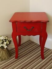 Red 1 Drawer Lamp Table Distressed Ornate French Style Small Bedside Cabinet New