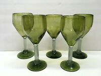 Lot of FIVE Large Heavy Hand Blown Glass Wine Glasses Goblets Avocado GREEN