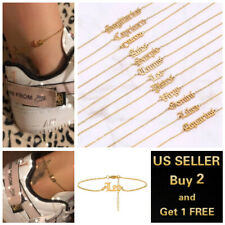 Twelve Constellations Ankle Bracelet Jewelry Women Gold Anklets Simple Letters