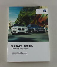 Owner's Manual BMW 1-Series 114 116 118 120 125i D M 135i F20 Desde 2016