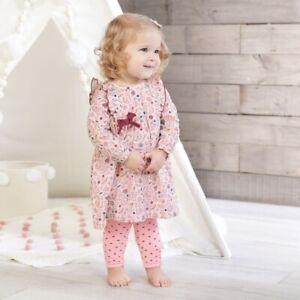 Mud Pie E0 Baby Girl Forest Friends Fox Bunny Muslin Dress & Pants Set 15000053