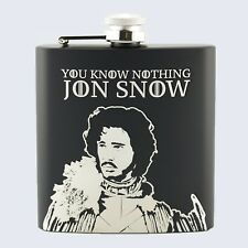 JON SNOW, NIGHTS WATCH, Game Of Thrones Inspired, 6oz Drinks Beverage Hip Flask