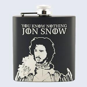 JON SNOW, NIGHTS WATCH, Game Of Thrones Inspired, 6oz Drinks Beverage Hip Flask