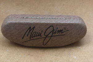 Maui Jim Large Tan Sport Sunglass Hard Case Snap Shut Clam Shell Bamboo Texture