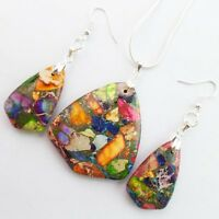 Rainbow Sea Sediment Jasper & Pyrite Earrings & Necklace Set D2040