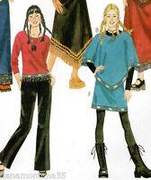 NEW McCalls 2978 Girls MOD Poncho-Knit Top-V Hem Mini Skirt-Pants Pattern 7-10