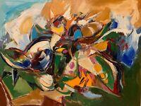 "Gagik Manoukian - Listed Artist - ""Abstract Battle Cat"" - 2001 - Original Oil"