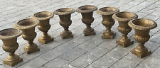 Vintage French Cast Iron Garden Planter Gold Topiary Urn 10� Urns (Per Pair)