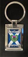 Scottish Flag, Scotland forever - highly polished metal keyring