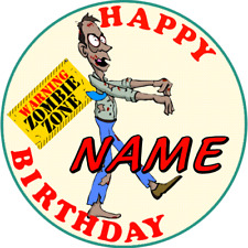 ZOMBIE CHILDRENS PERSONALISED AGE & NAME BIRTHDAY BADGE PARTY BAG FILLER