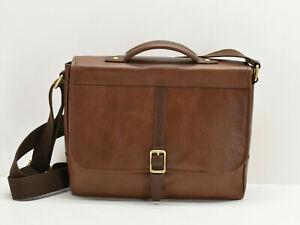"NWT Fossil Evan Commuter Bag Messenger Men's cognac Brown Leather 13"" laptop"