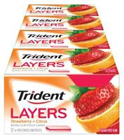 Trident Layers Sugar Free Gum (Wild Strawberry Tangy Citrus, 14 pcs, 12-Pack
