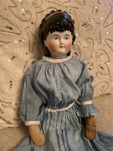 """Fancy Hair 18"""" Antique China Doll W Antique Body & Dress Spill Curls """"As Is"""""""