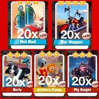 100x Coin Master Karten - Hotrod, Barhopper, Berly, Archery Camp, Pig Knight❗️