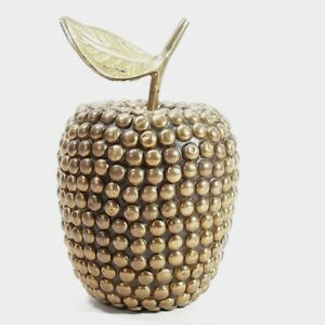 Vintage Brass Apple Fruit Ornament Paperweight Decorative Beaded Studded Fruit
