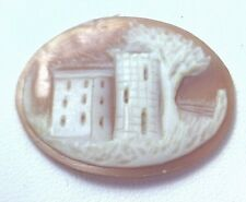 NOS Antique Hand Carved Oval Shell CAMEO Stone House & Tree Scene #N442